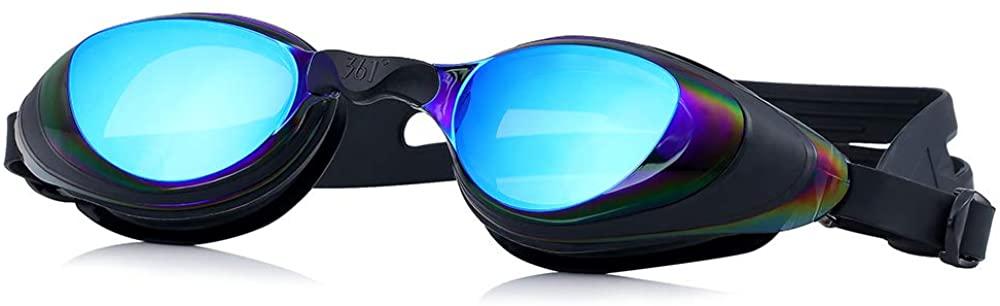 361 Swim Goggles for Women Adult No Leak Anti Fog Anti Glare Head Straps for Men With Nose Piece