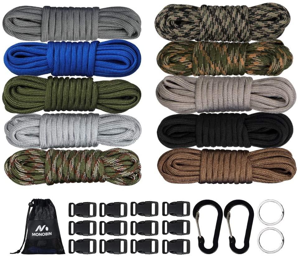 MONOBIN Paracord Combo Kits - 550 Type III Parachute Cord - Bracelet Crafting Kits, Survival Rope Making lanyards,Dog Collar,Bracelet