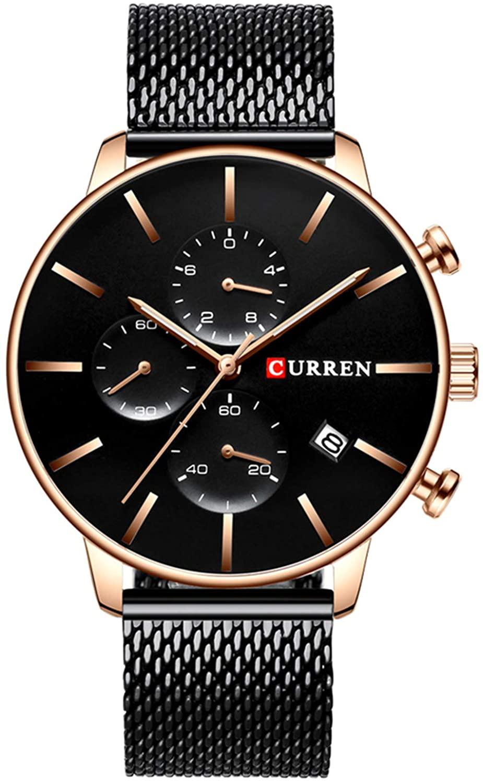 Men's Luxury Casual Quartz Watch Stainless Steel Mesh Strap Sports Watch Date Chronograph Waterproof Watch