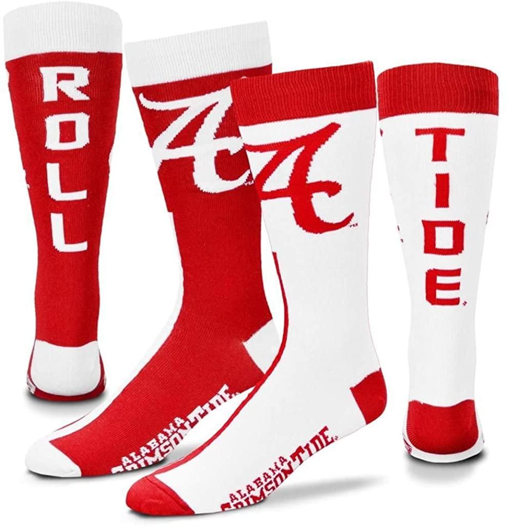 For Bare Feet Men's NCAA Big Top MisMatch Crew Dress Socks- 1 Pair- Size (Large 10-13)