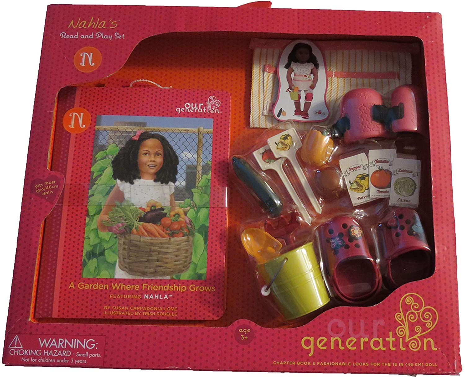 TARGET Our Generation Nahla's Read and Play Set Gardening Garden Apron, Knee Pads, Shoes, rake, Shovel, Bucket, Vegetables