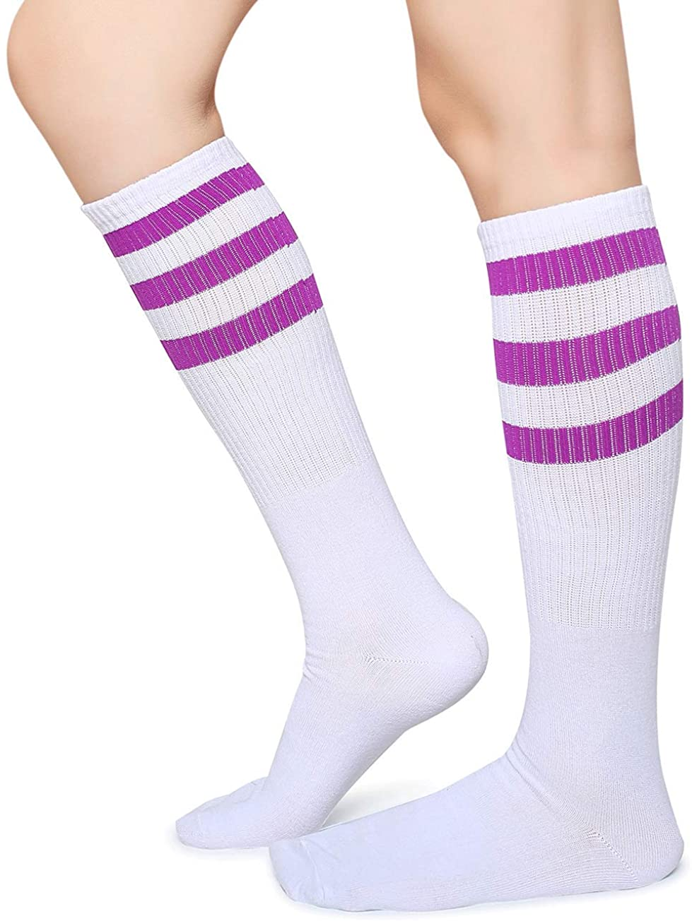 Pareberry Classical Triple Stripes Soft Cotton Over-the-Calf Retro Tube Socks