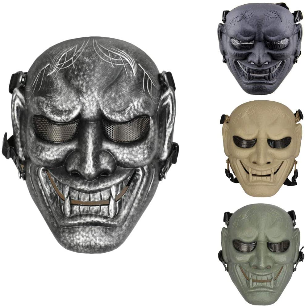 JFFCESTORE Airsoft Full Face Protective Mask with Google and Seamless Headscarf Tactical Skeleton Masks Gear for t Paintball Outdoor Cs War Game BB Gun Ghost Halloween Party Mask