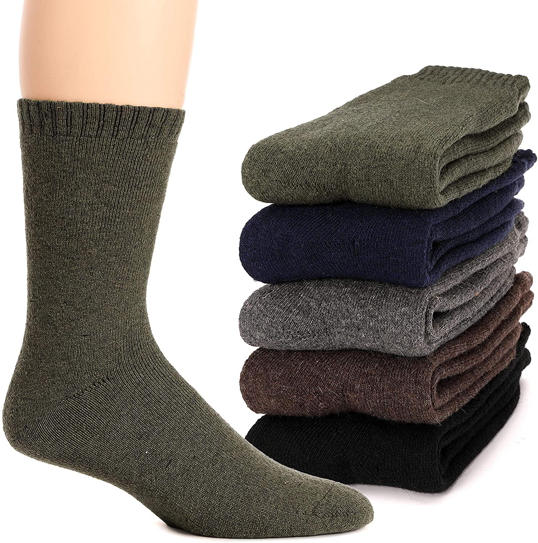 Mens Wool Socks Thermal Heavy Thick Fuzzy Soft Warm Winter Socks 5 Pairs