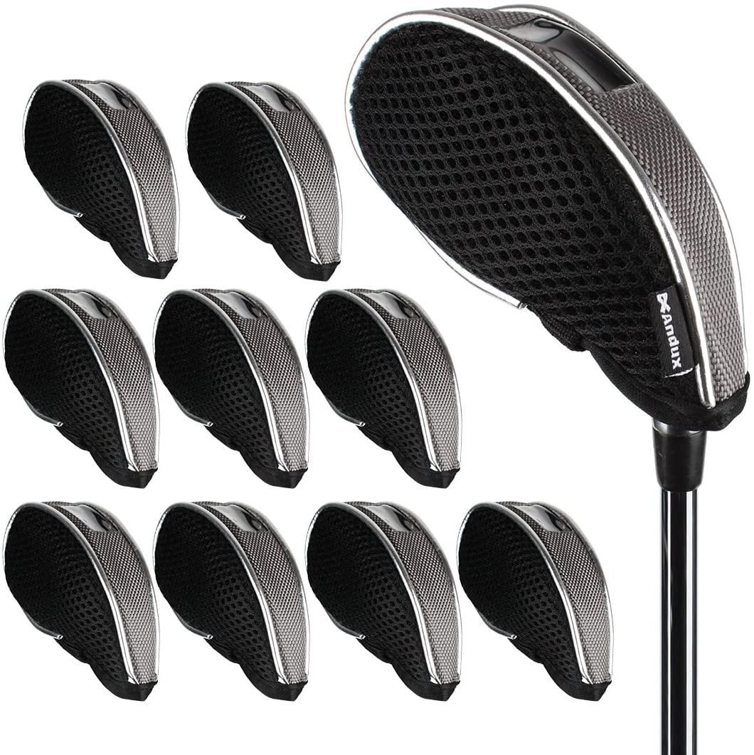Andux Mesh Golf Iron Head Covers with Windows 10pcs/Set 01-YBMT-001