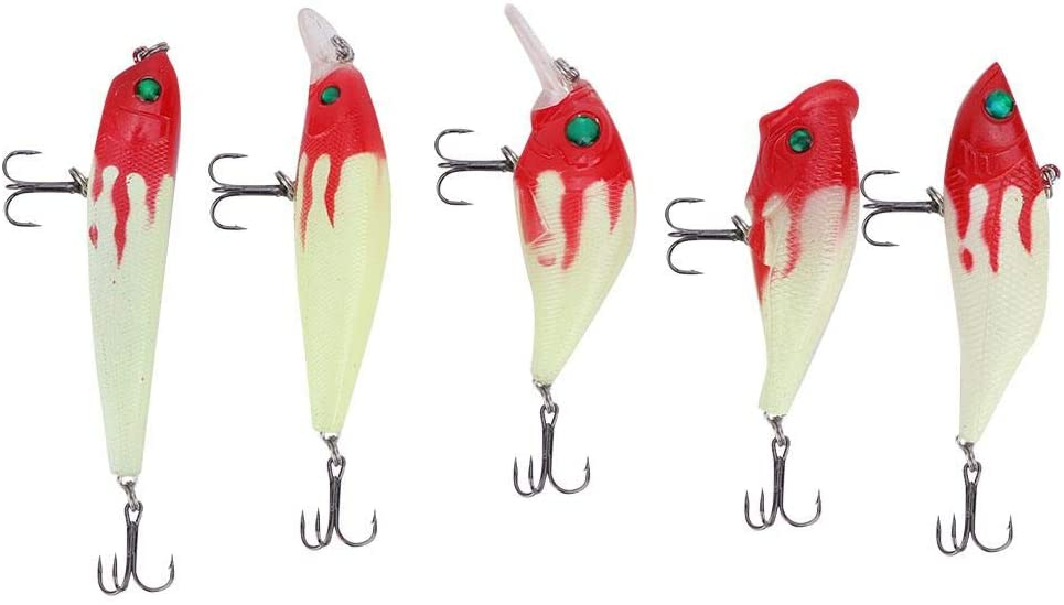 HERCHR 5PCS Artificial Fishing Lures Luminous Fishing Baits Fish Tackle with Storage Box