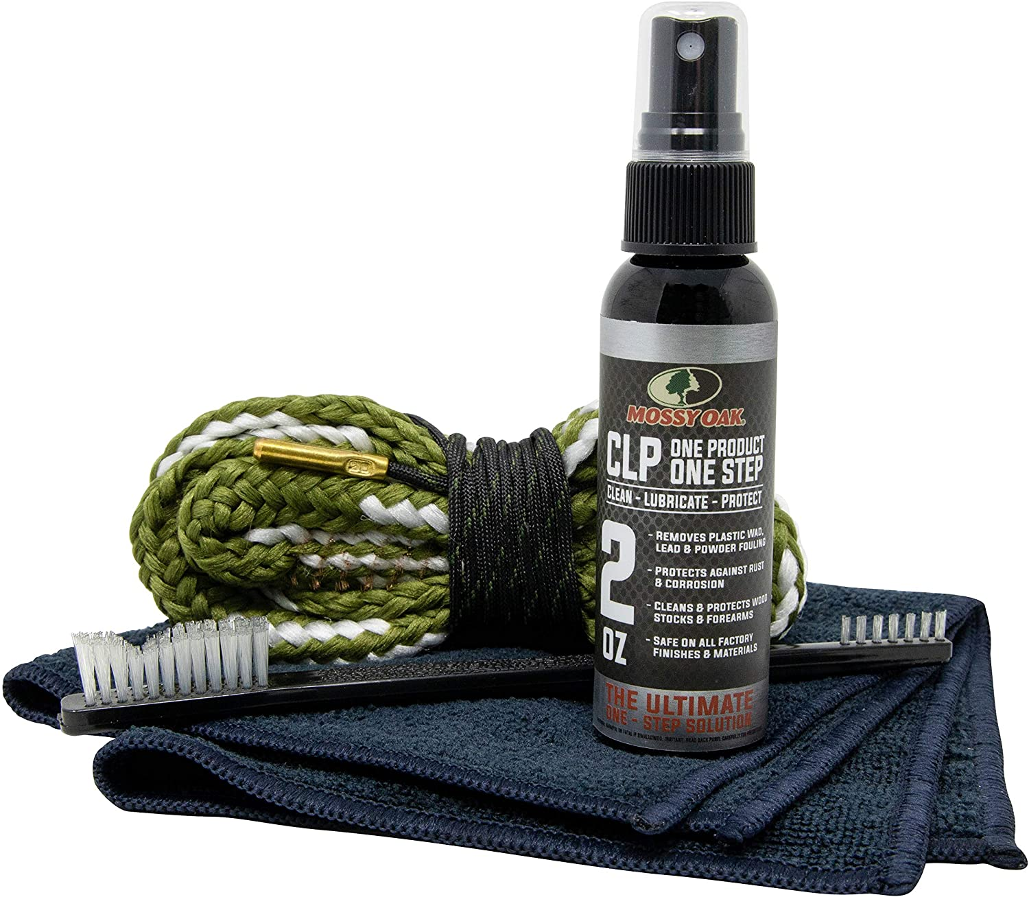 Mossy Oak Shotgun Combo Kit | Cleaner, Lubricant & Bore Brush | All-in-One | Clean, Lubricate, Protect | Rust Preventative Cleaning Kit | CLP, Bore Snake, Nylon Brush & Microfiber Towel