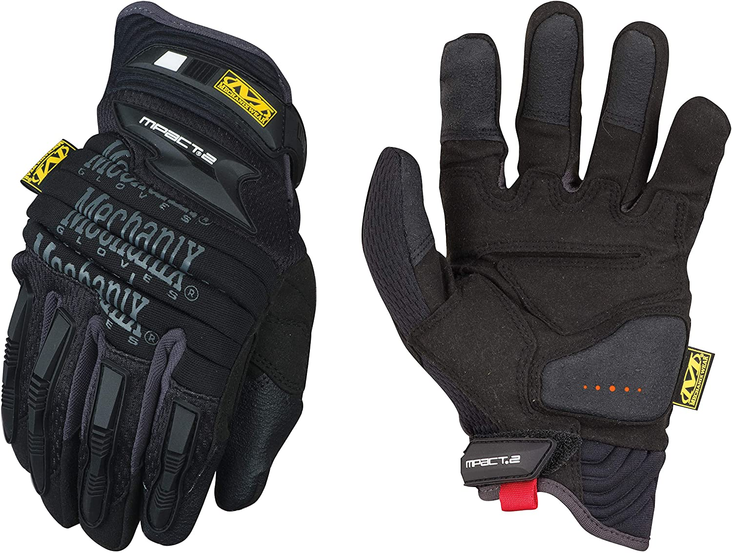 Mechanix Wear Size 9 Black And Gray M-Pact 2 Synthetic Leather And TrekDry Full Finger Anti-Vibration Gloves With Hook And Loop Cuff (MP2-05-009), Medium