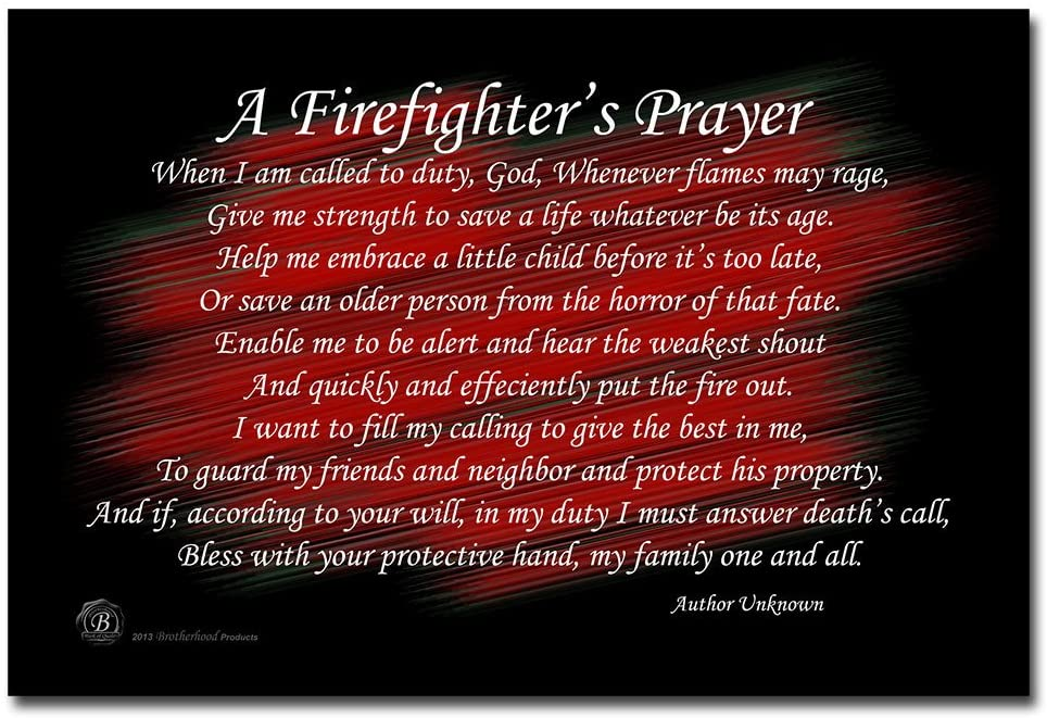 BrotherhoodProducts A Firefighter's Prayer Black and Red 8x12 Metal Sign