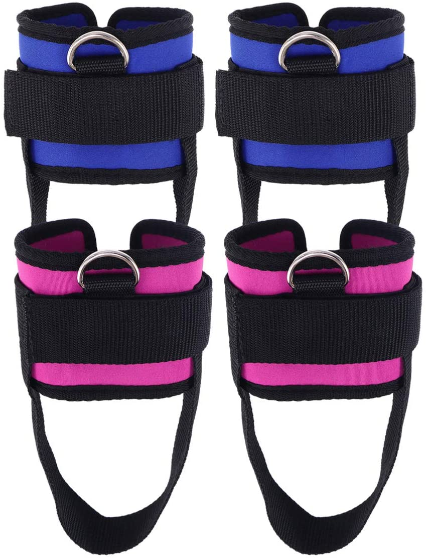 BESPORTBLE 4Pcs Ankle Straps D-Ring Fitness Padded Fitness Ankle Straps Ankle Cuffs Strap Workouts Cable Machines for Weightlifting Workout (Rosy Blue)
