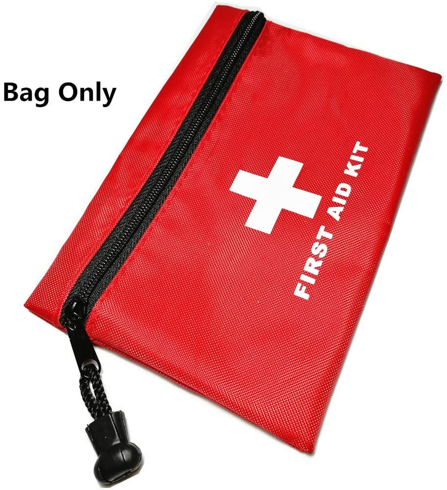 PAXLamb Red First Aid Bag Empty, First Aid Kit Empty First Aid Pouch Small Mini Waterproof for First Aid Kits Pack Emergency Hiking Backpacking Camping Travel Car Cycling (Bag Only)