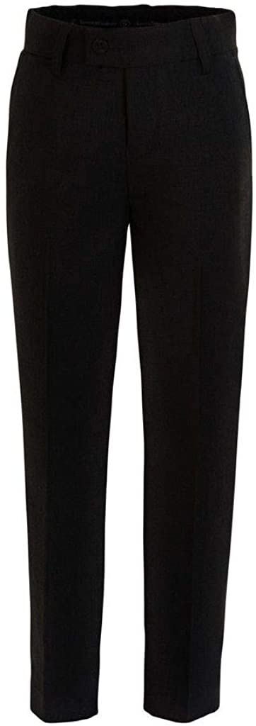 RGM Boys Dress Pants Flat-Front Slacks - Poly Rayon Slacks Giovanni Uomo Black 14