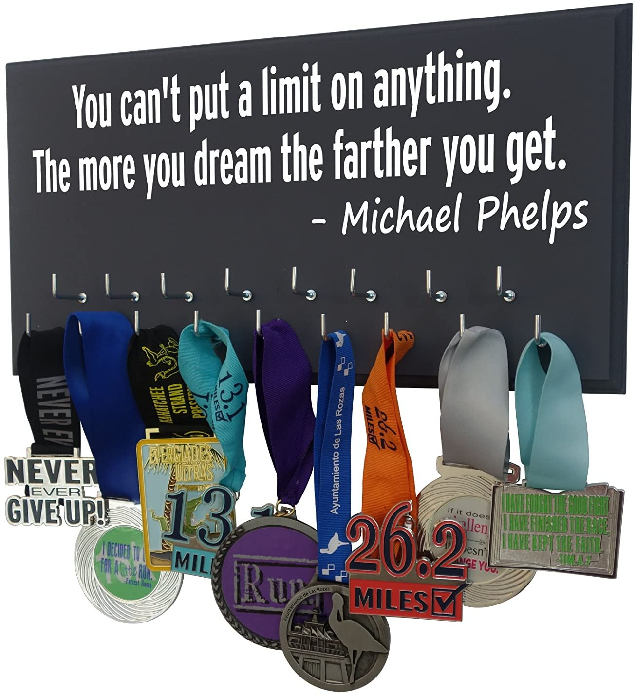 RunningontheWall Swimming Medal Holder, Swimming Gifts for Girls You Can't Put A Limit ON Anything. The More You Dream, The Farther You GET Swimmer Gifts, Swimming Medals Ribbons Display Kids