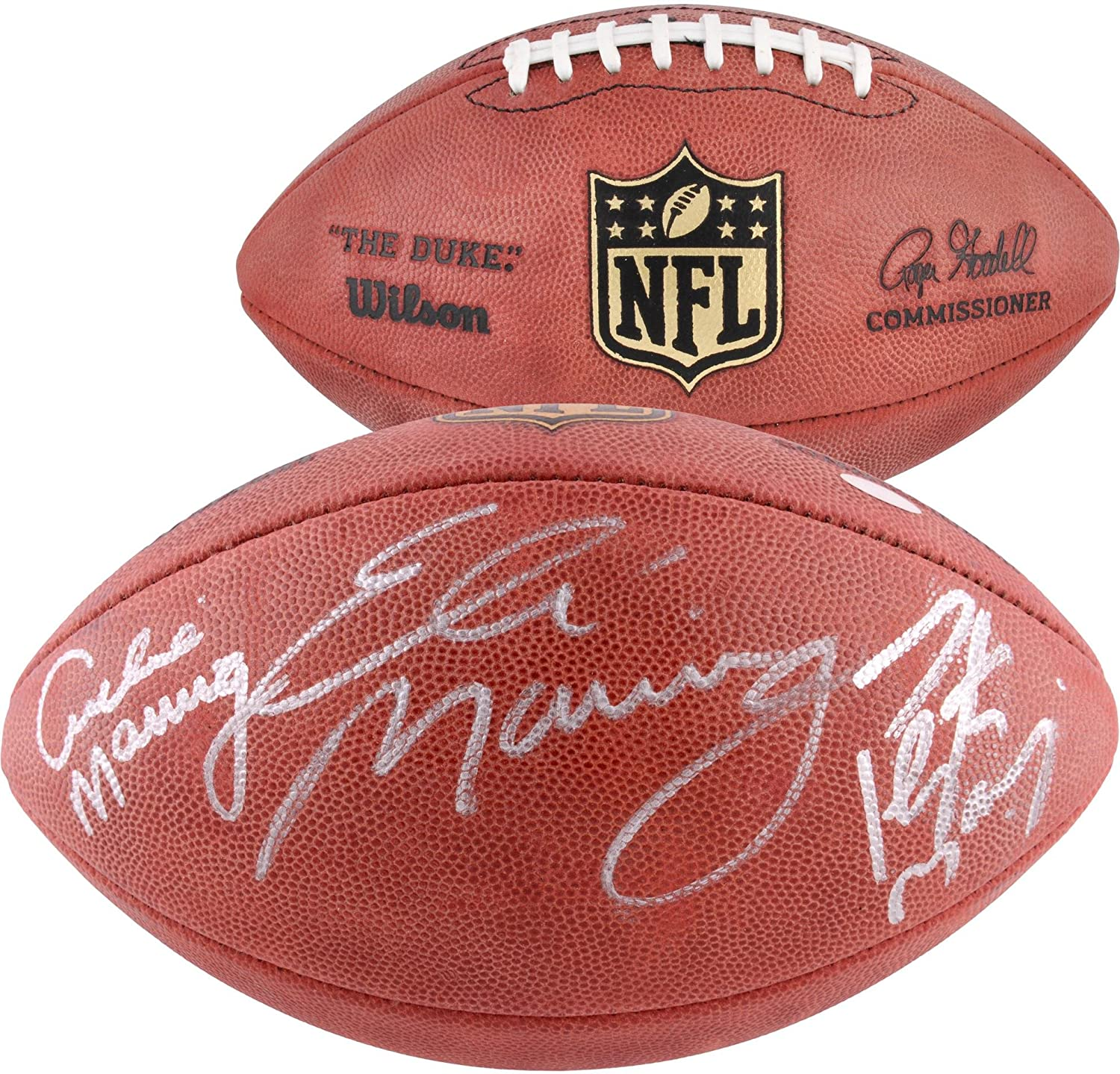 Archie, Eli, and Peyton Manning Autographed Duke Pro Football - Autographed Footballs