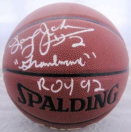 Larry Johnson Signed Spalding NBA I/O Basketball Grandmama JSA - Autographed Basketballs