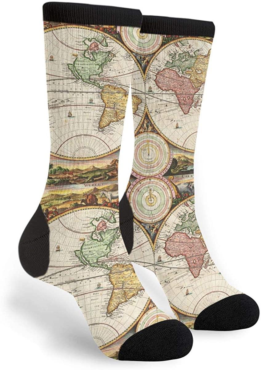 Women's Men's Fun Novelty Crazy Crew Socks World Map Two Hemispheres Ancient History Dress Socks