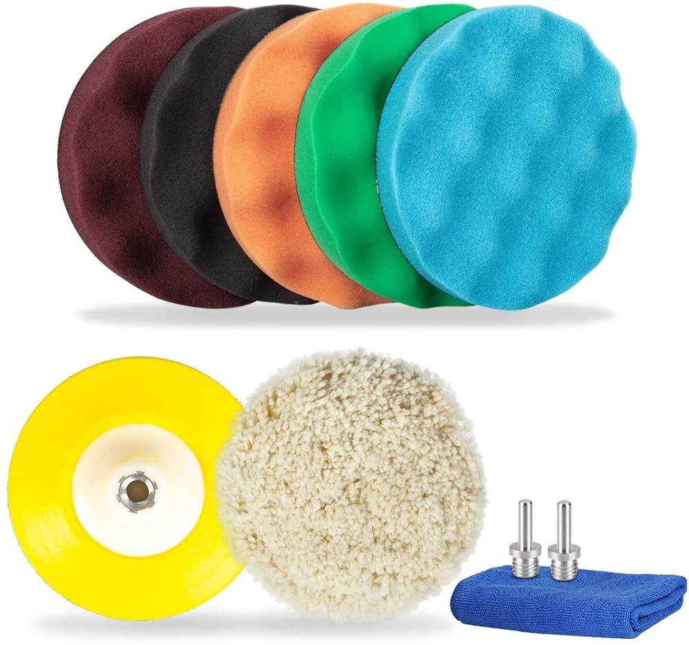HUSTON LOWELL 6 Inch Car Polishing Pads Kit, 10PCS Set Buffing Sponge (5Waffle Foam & 1Wool Grip Pads&1Polisher Grip Backing Plate) for Car Polishing, Buffing and Sealing Glaze
