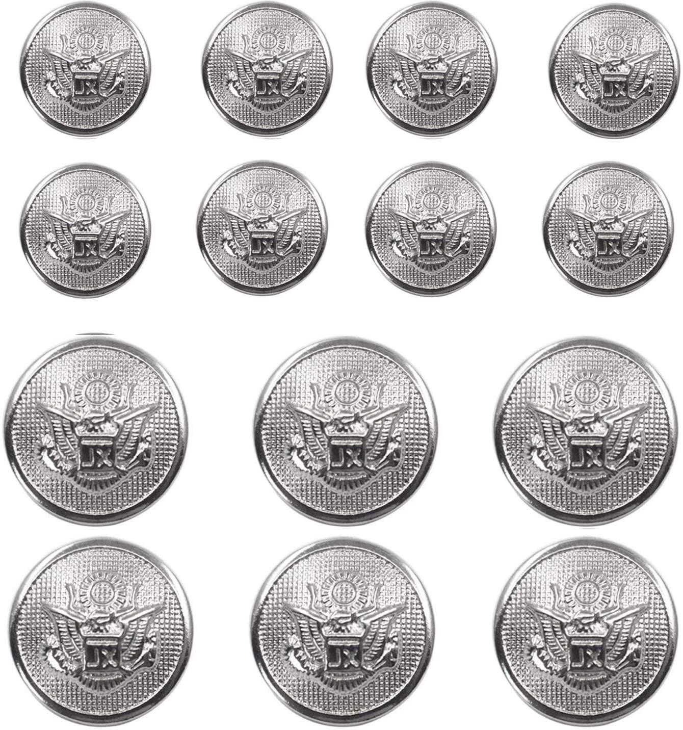 14 Pieces Metal Blazer Button Set - Eagle Badge - for Blazer, Suits, Sport Coat, Uniform, Jacket (Silver) 15mm 20mm
