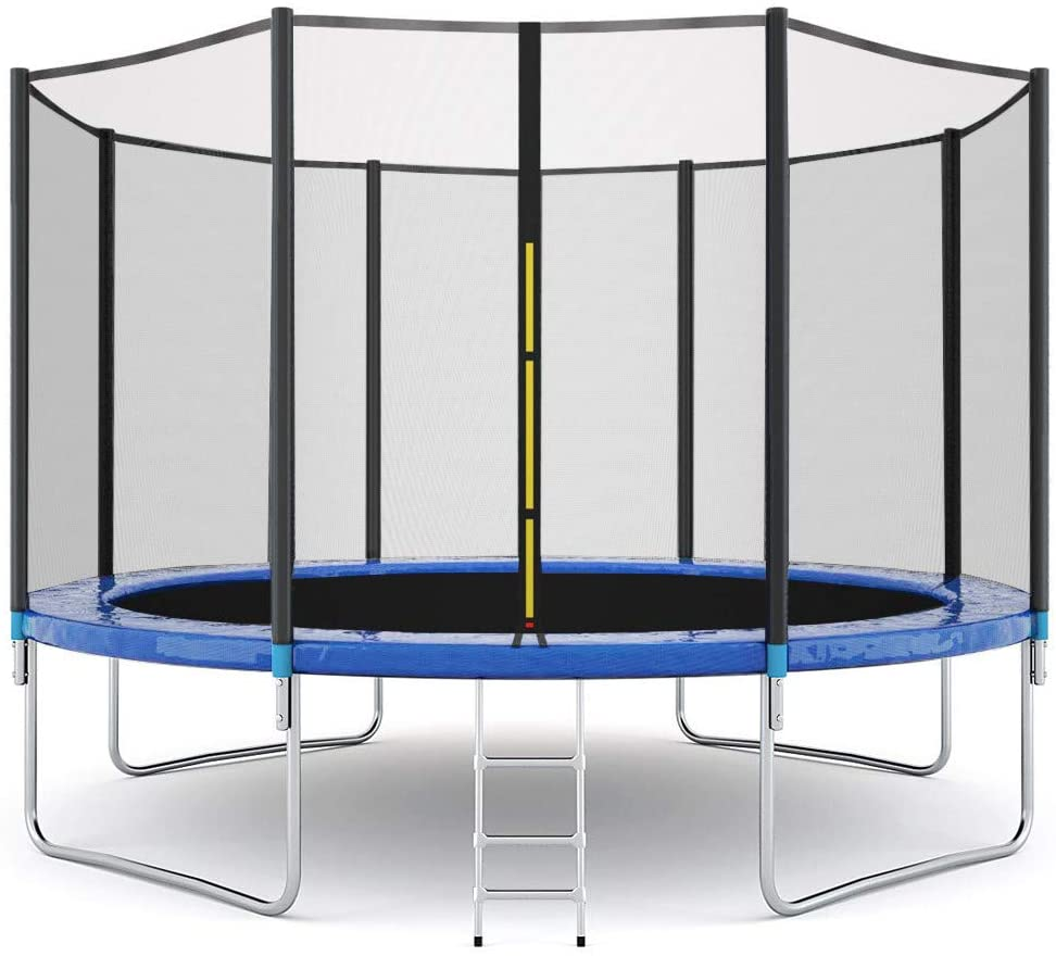 10 FT Trampoline, New Upgrade Outdoor Trampoline, Maximum Weight Capacity 442 LBS for Kids Adults with Safety Enclosure Net, Backyard Ladder Trampoline with Spring Cover Padding (Black and Blue, 10Ft)