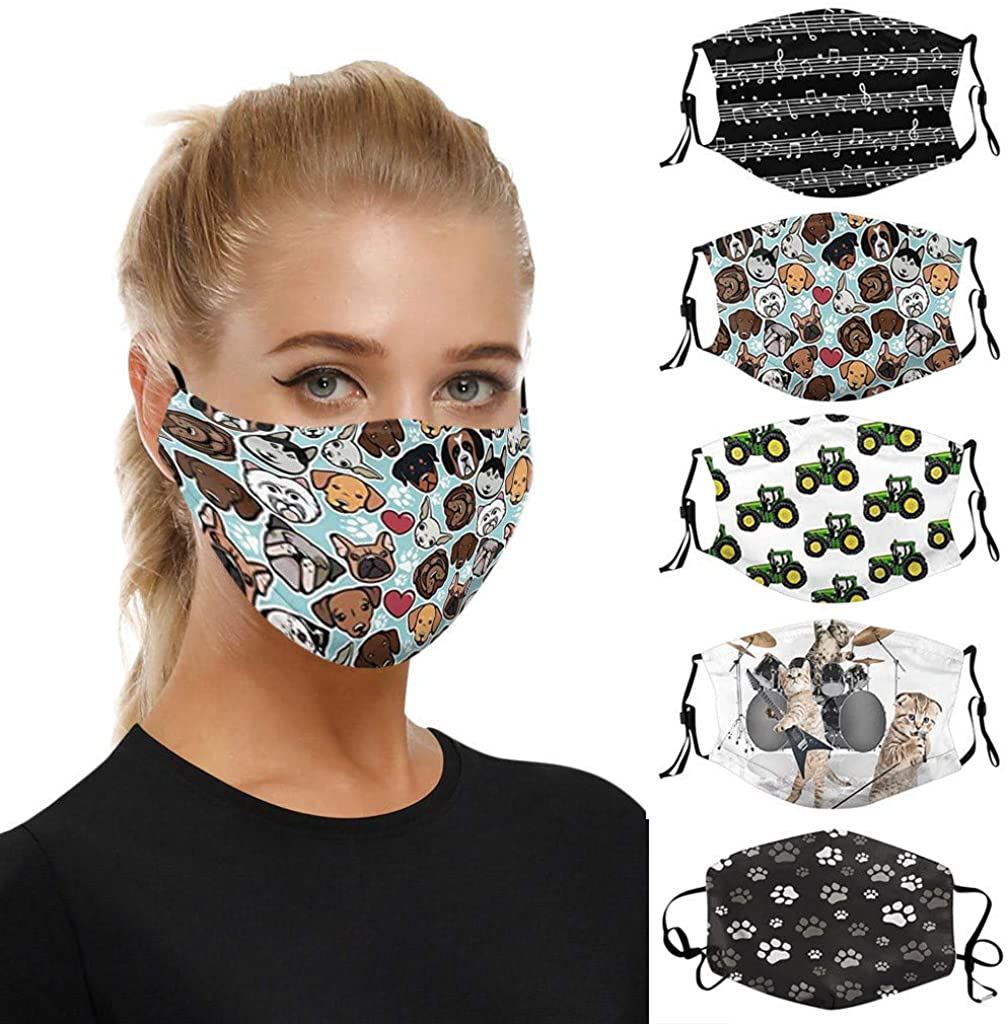 5 Pack Printed Face_Masks Washable Reusables Cloth Fabric,Adult Dustproof Face Protection Fashion Balaclava for Women Men
