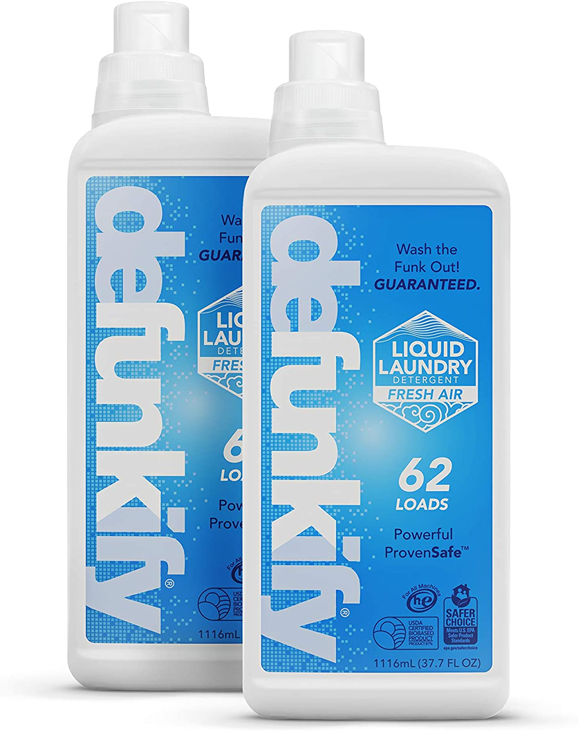 Defunkify Liquid Laundry Detergent, Fresh Air - Crushes Odor - EPA Safer Choice - 87% BioBased - 124 Loads (2-Pack of 62 Load Bottles) (Fresh Air)
