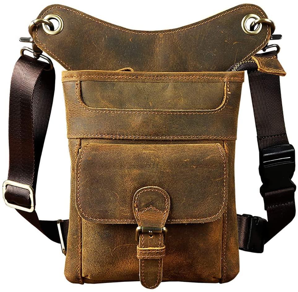 LederleiterUSA Genuine Leather Men's Drop Leg Pouch Tools Bags Tactical Leg Bag Purse Fanny Pack Thigh Bags Bike Cycling Hip Bag Waist Pack