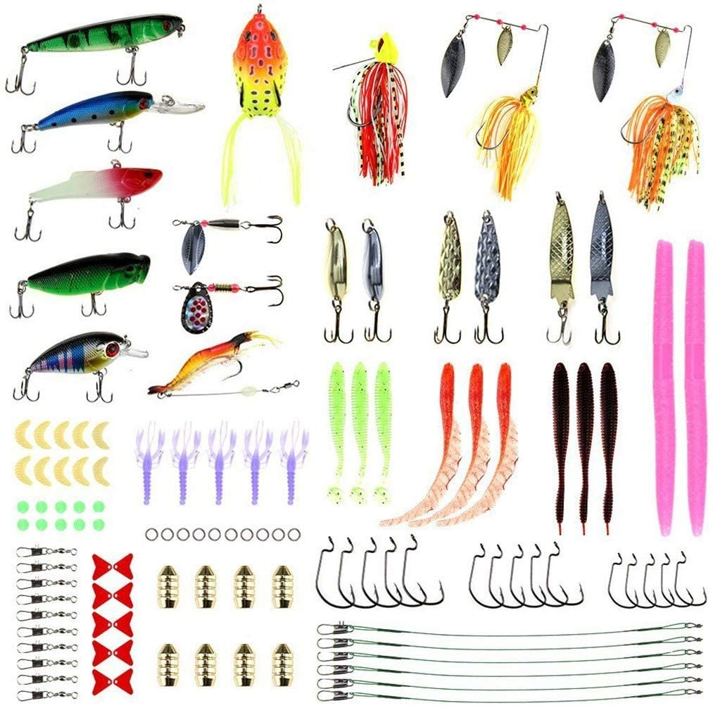 Wenjuan Fishing Tackle Box and Lure Kit,108-Pcs Fishing Bait Set Fishing Set - Including Spoon Lures,Soft Plastic Worms, CrankBait,Jigs,Topwater Lures