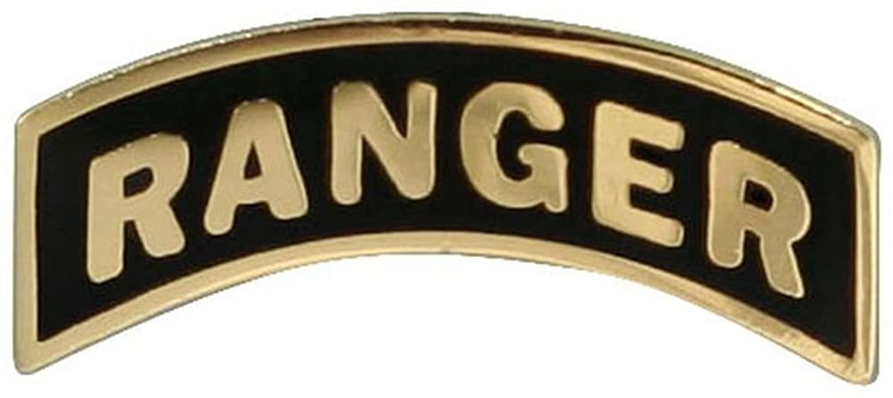 RANGER Tab Lapel Pin, Gold Black, 7/8 inch