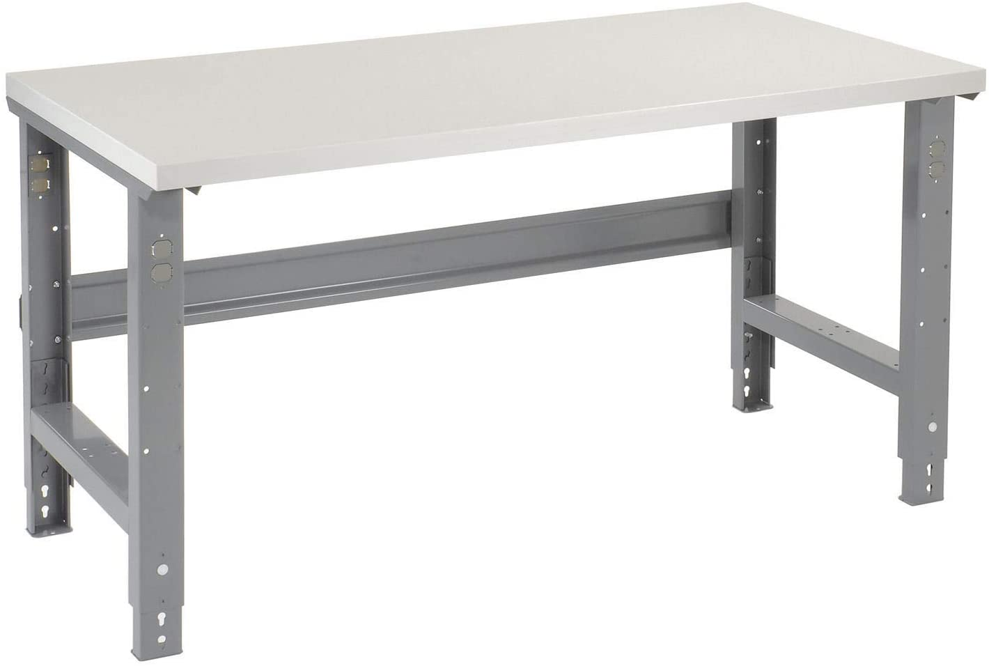 Adjustable Height Workbench C-Channel Leg, Plastic Laminate Square Edge, 60