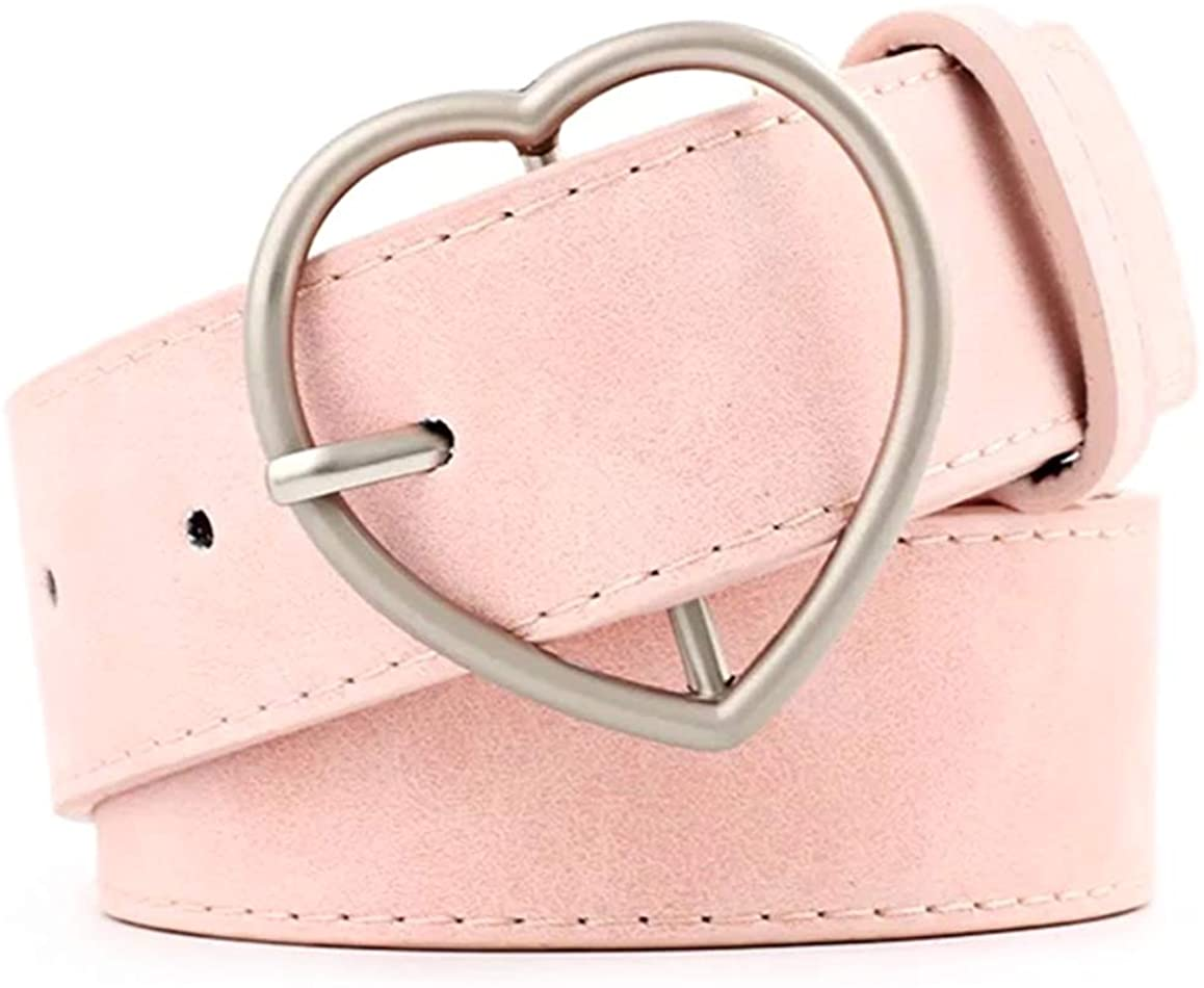 Women Fashion PU Leather Dress & Jeans Waist Belt for Girls and Ladies Heart Buckle
