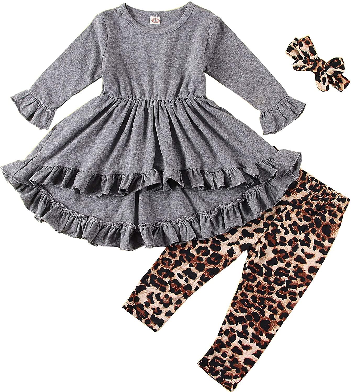 3Pcs Kids Toddler Girl Long Sleeve Ruffled Tunic Top Dress+Leopard Pants+Headband Spring Fall Outfit Clothes Set