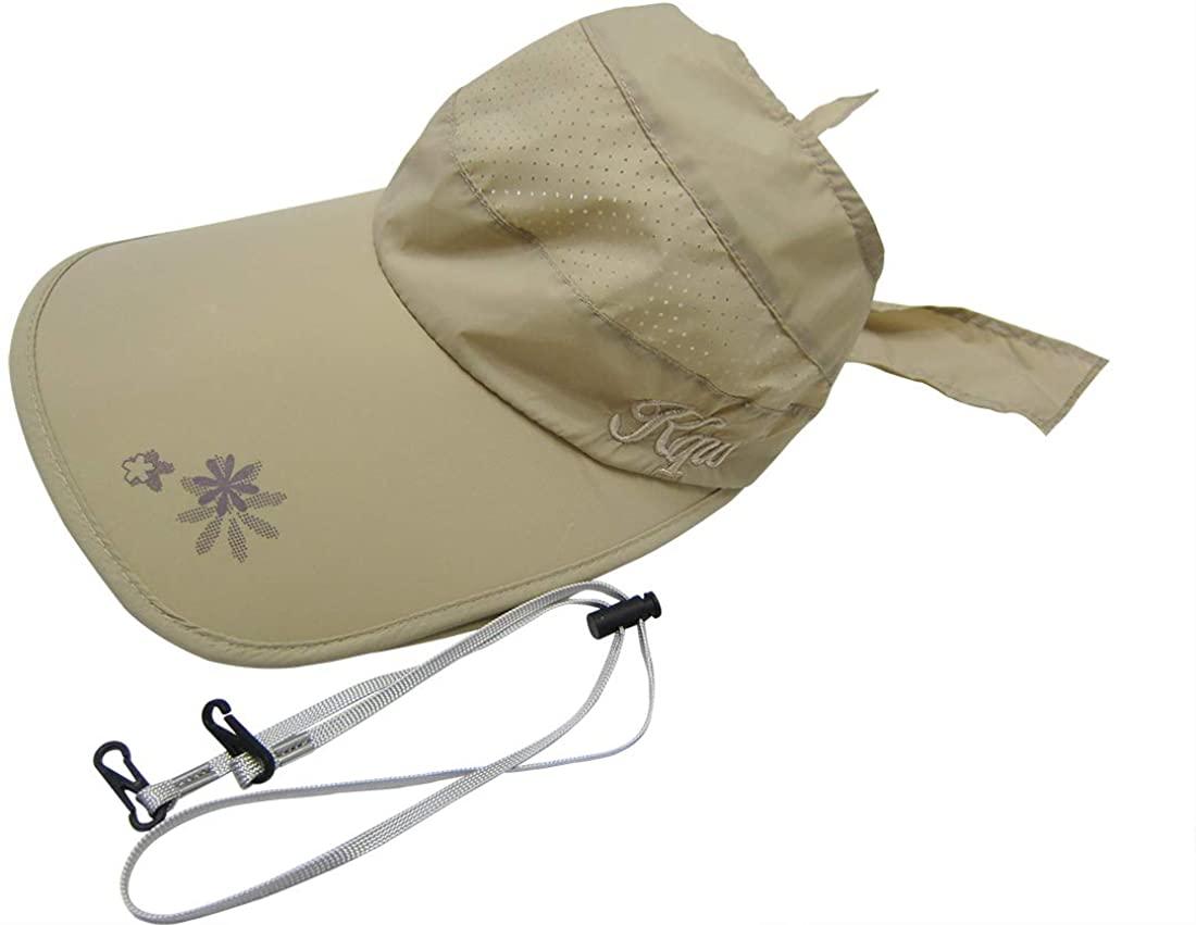 Bellcon Visor Hat Wide Brim Sun Hats for Women UV Protection Beach Mesh Hat Extensible Visor Cap with Bowknot