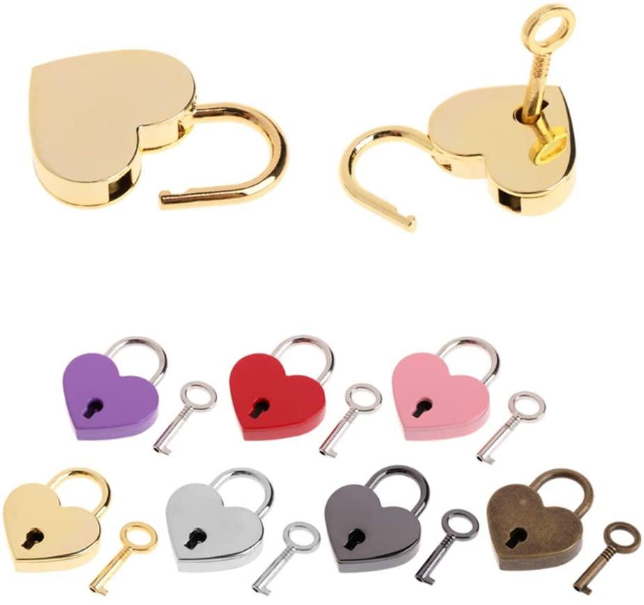 CHDHALTD Mini Heart Lock, Vintage Mini Padlock Key Lock, Heart Shape Padlock for Jewelry Box,Storage Box,Diary,Luggage Handbag,Gift