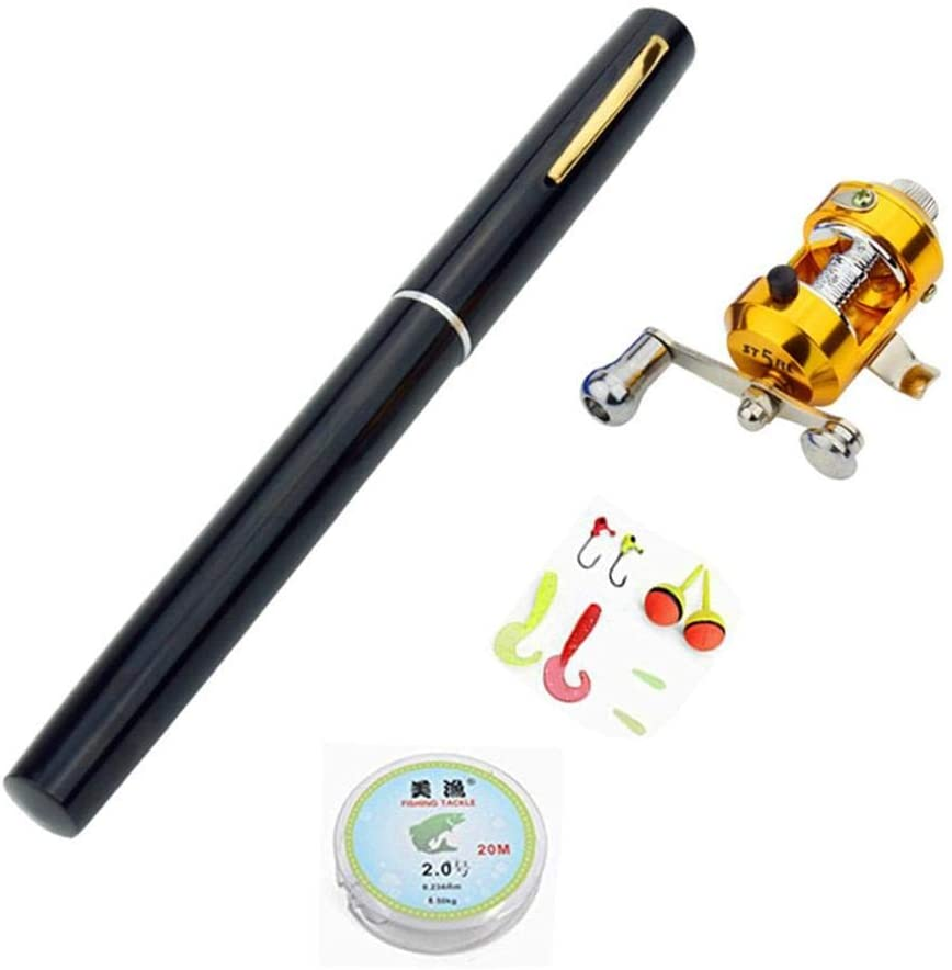 POP-STYLE Pen Fishing Pole Mini Pocket Fishing Rod and Reel Combos Travel Fishing Rod Set for Ice Fly Fishing Sea Saltwater Freshwater, Gift for Festivals