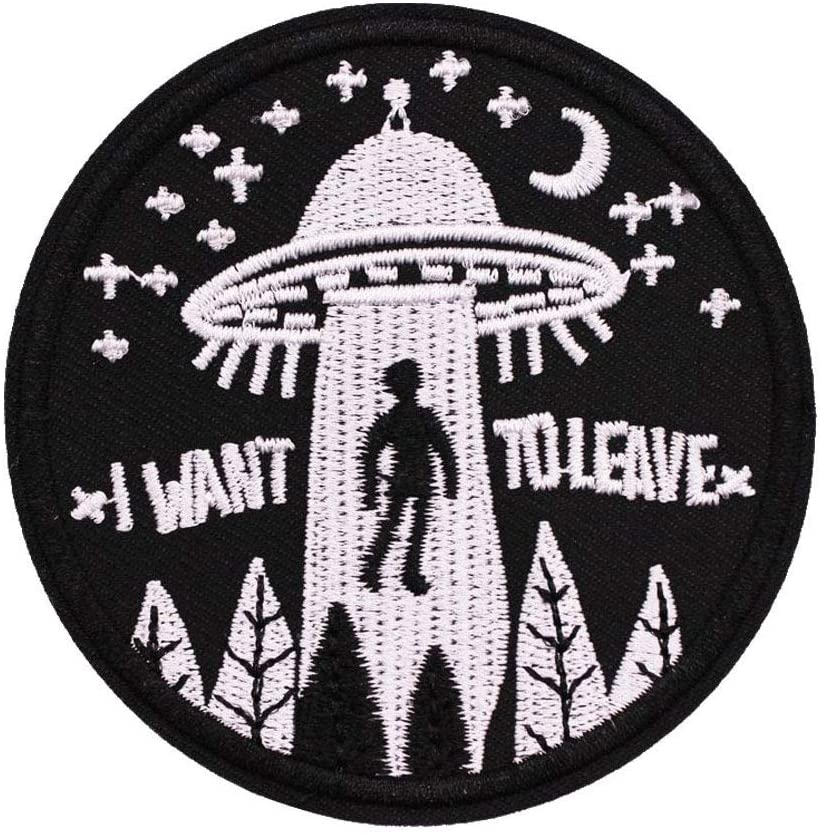 SOUTHYU Funny Military Tactical Morale Patch - I Want to Leave -Embroidered Hook and Loop Patch Decorative Emblem Badge 3.15