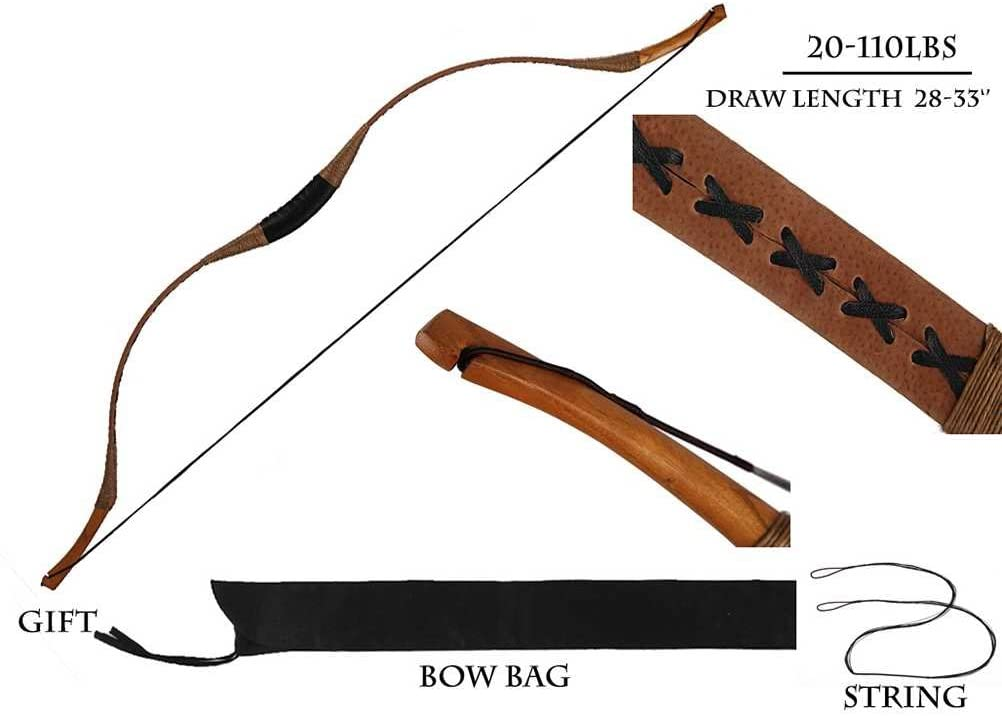 PG1ARCHERY Traditional Archery Recurve Bow Longbow Basic Handmade Pig Leather Horsebow Long Bow Left and Right Handed for Hunting Practice Target 20-110lbs