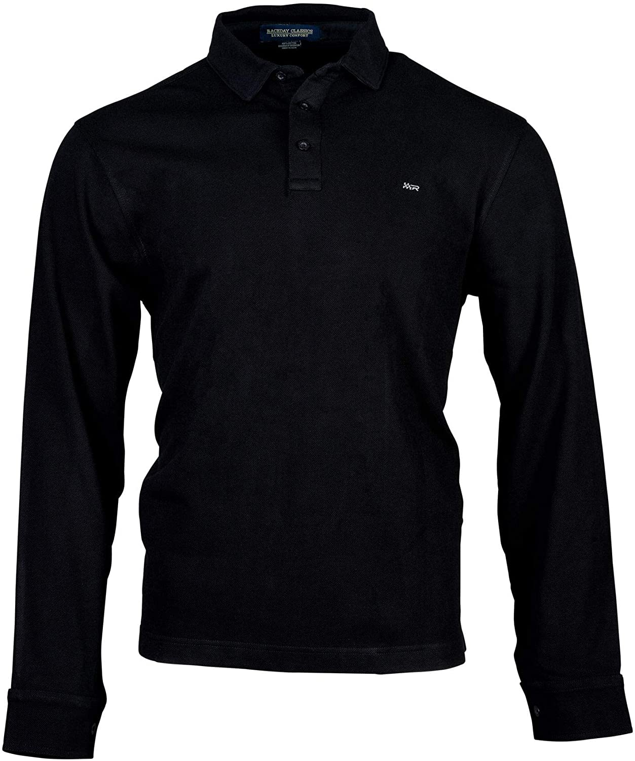 Raceday Classics Luxury Quality Polo with Perfect Collars, Long Sleeves, Regular Fit, Black Cotton Mesh