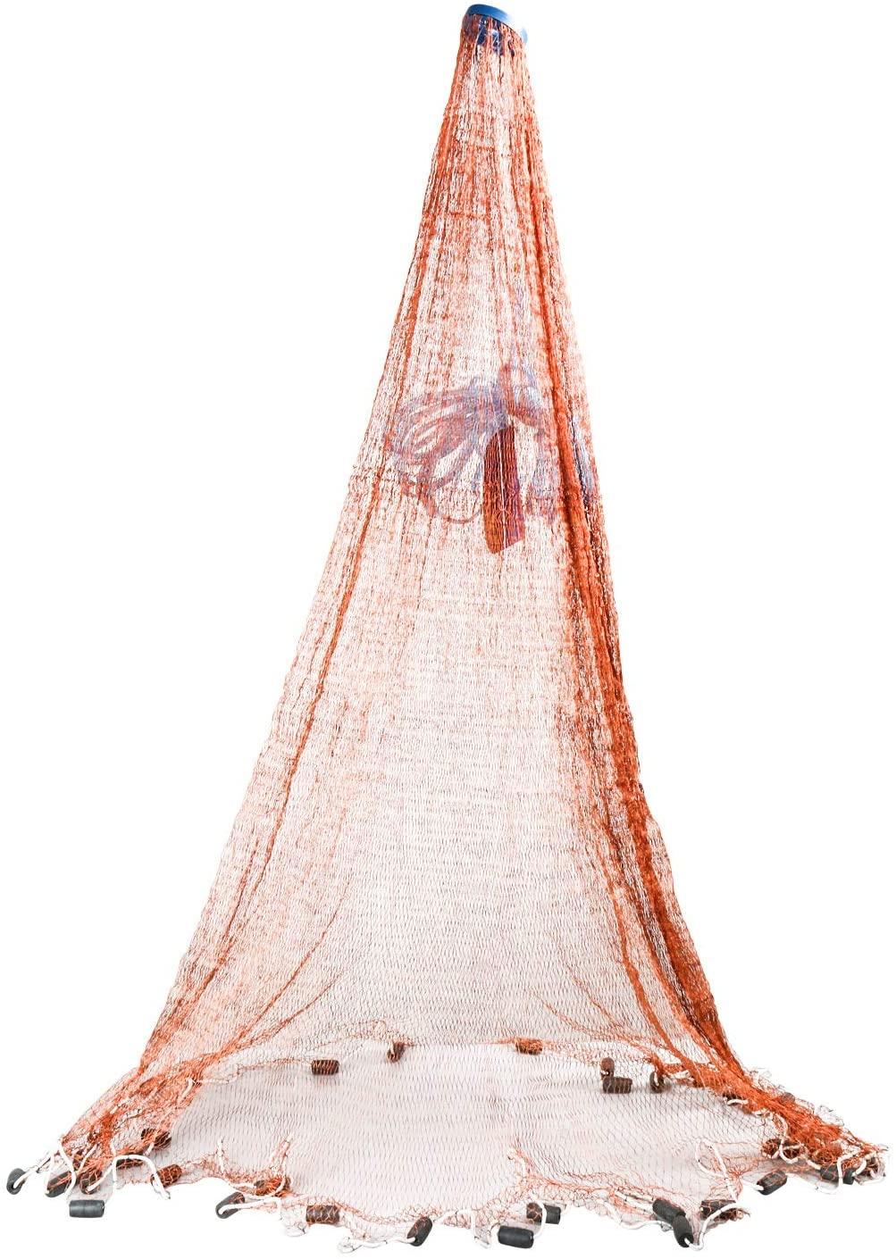 YaeGarden Saltwater Fishing Cast Net Fish Net Fishing Throw Net Bait Trap Fishing Net 4ft/6ft/8ft/10ft/12ft Radius with Environmental-Friendly Material Sinker Brown