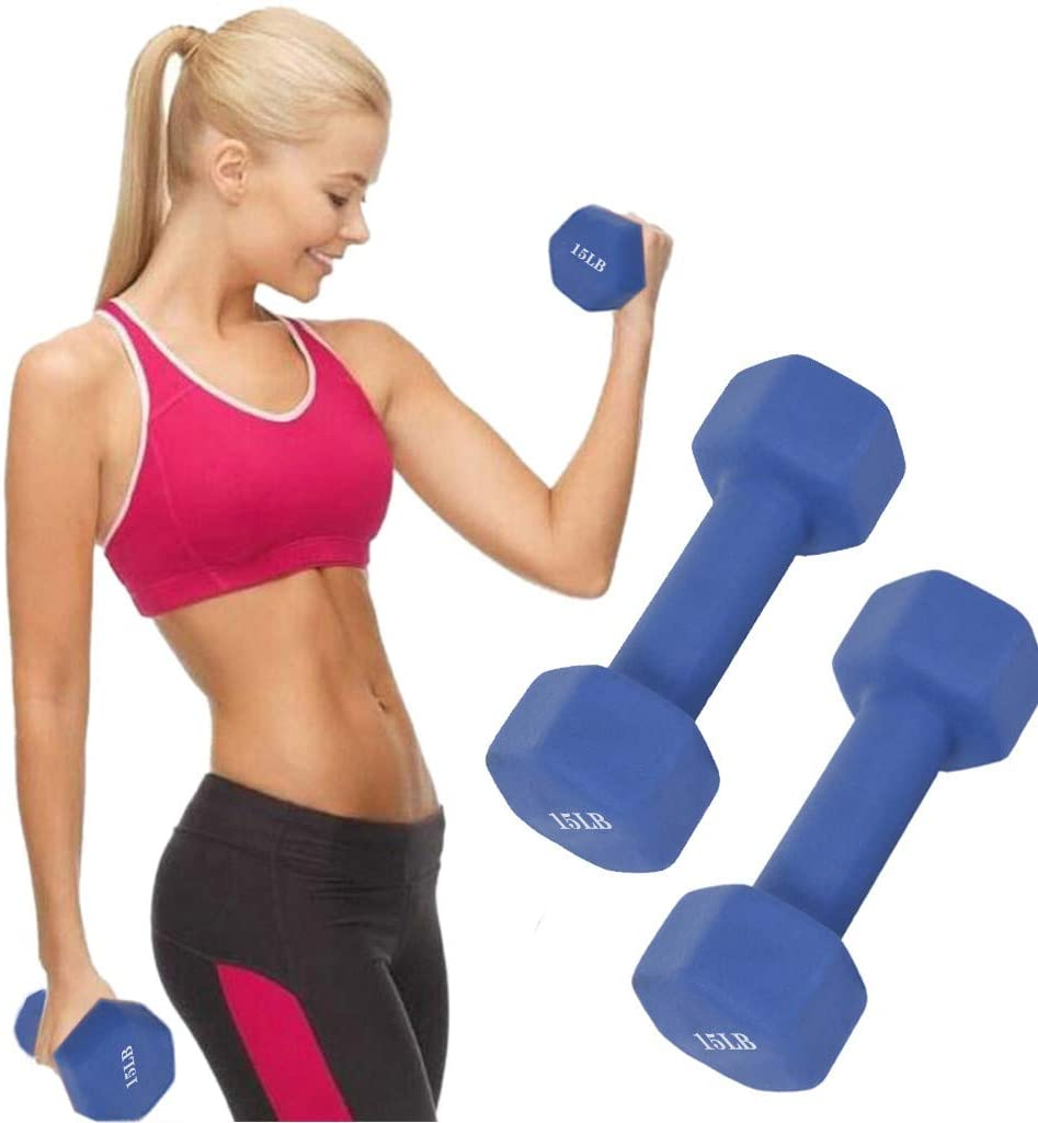 A Pair Hexagon Neoprene Coated Dumbbell, Neoprene Non Slip Grip, Deluxe Body Building/Sculpting Workout/Weight Loss, Comfortable Contoured Grips, for Both Men & Women, 6/8/10/12/15 Pound