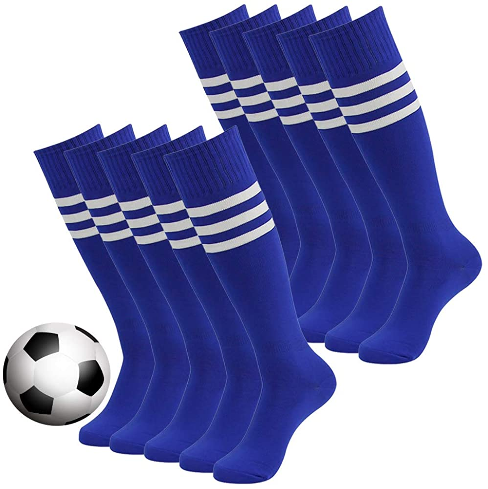Atrest Striped Tube Socks, Unisex Knee High Football Volleyball Baseball Cheerleading Sports Socks Long Tube Soccer Socks