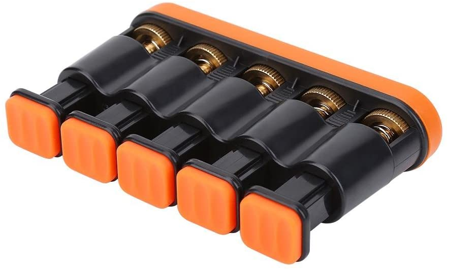 RiToEasysports Finger Strengthener,Variable Hand Finger Strength 5 Tension Exerciser Grip Trainer for Piano Guitar,Orange or Grey(Orange)