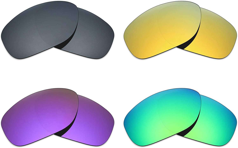 Mryok 4 Pair Polarized Replacement Lenses for Oakley Pit Bull Sunglass - Black IR/24K Gold/Plasma Purple/Emerald Green