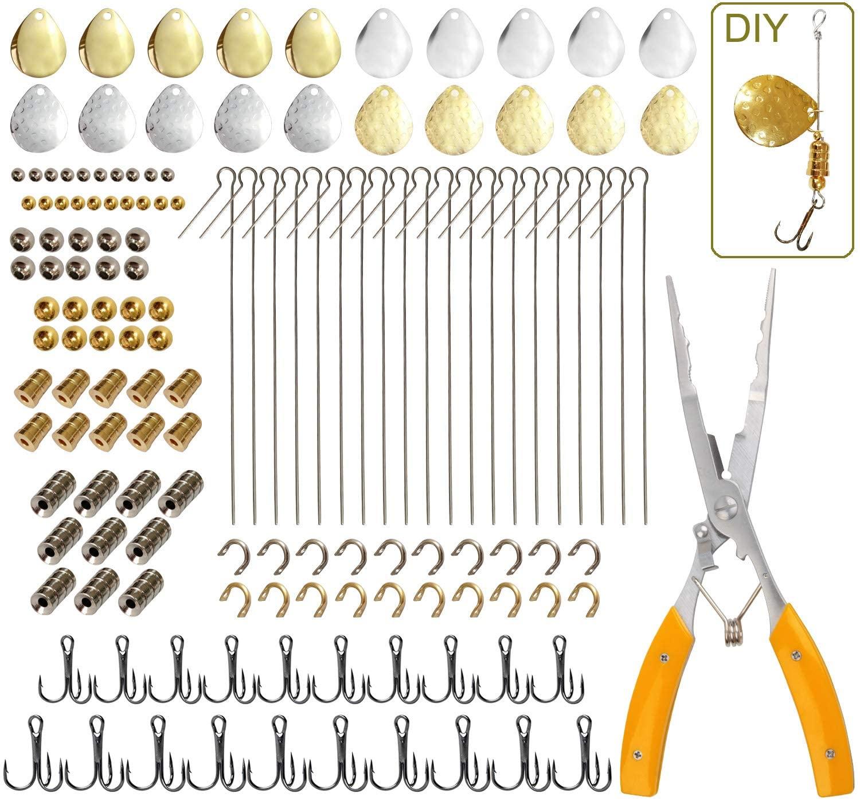 JSHANMEI Fising Lures Making Kit 141pcs Fishing Spoon Rigs Spinner Blade Hooks Fishing Tackle Spinner Bait Making DIY Kit