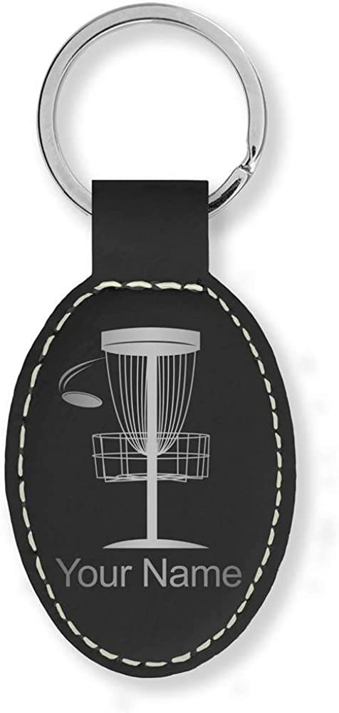 Faux Leather Oval Keychain, Disc Golf, Personalized Engraving Included