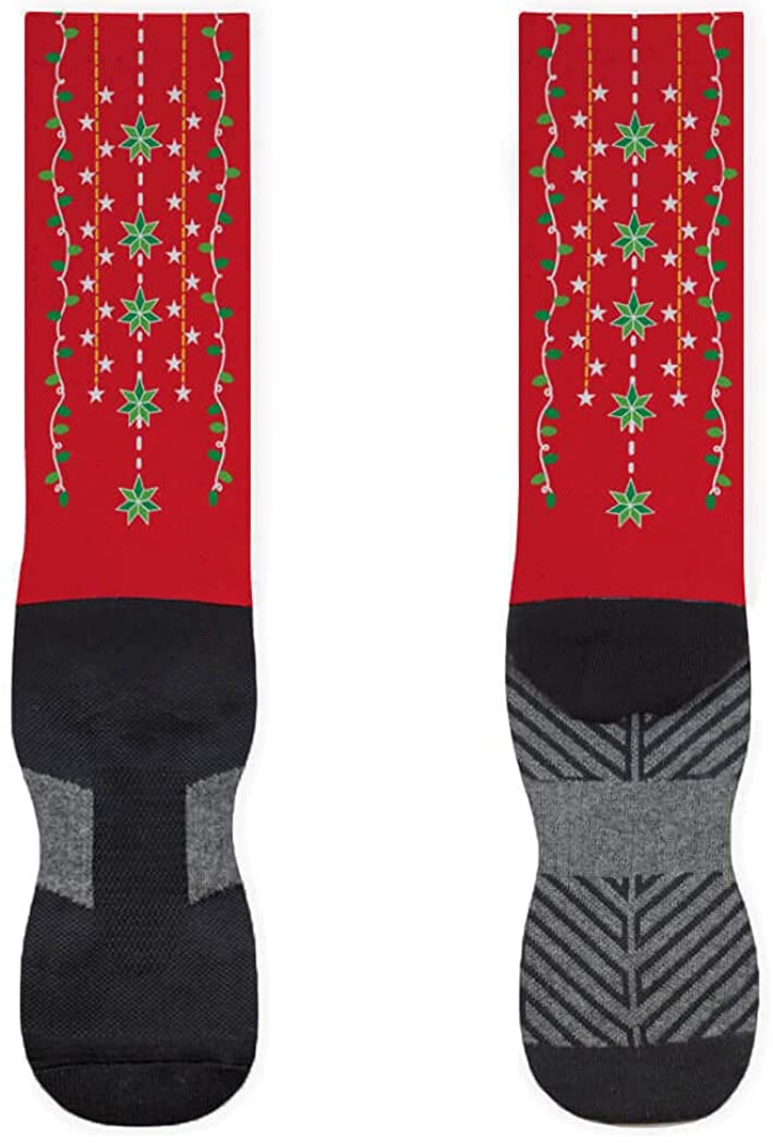 Holiday Printed Mid-Calf Socks | Festive Christmas Lights | Red