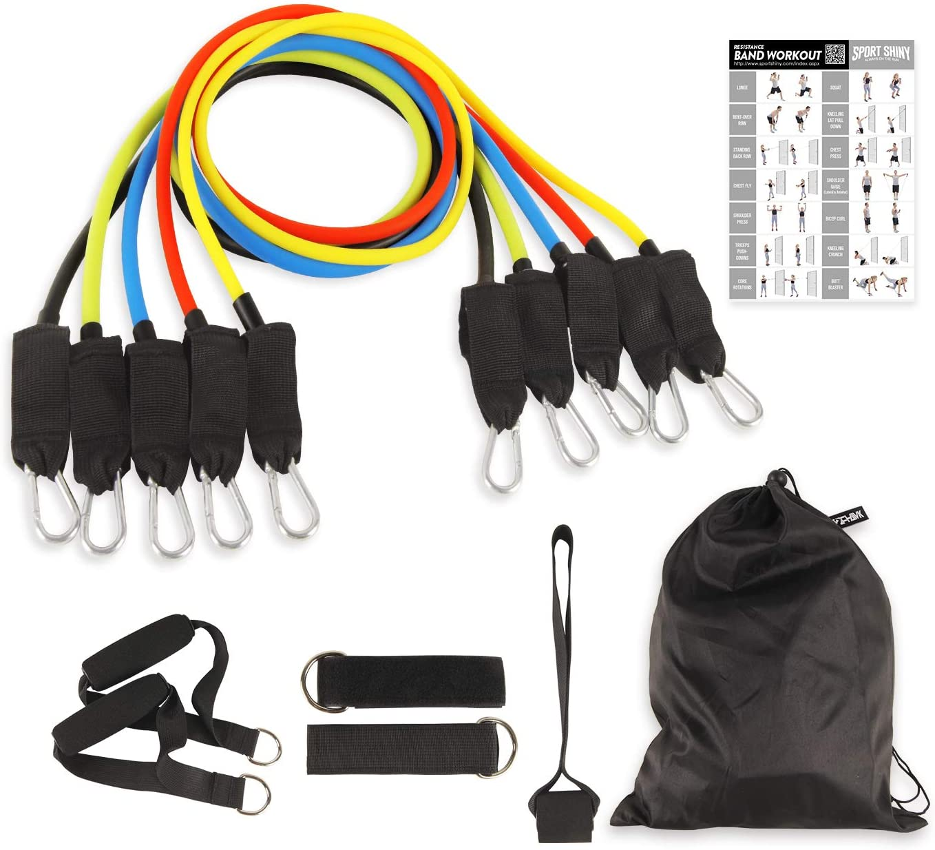 Sport Shiny Gymbasic Resistance Bands Set with Door Anchor, Ankle Strap, Exercise Chart, and Carrying Case