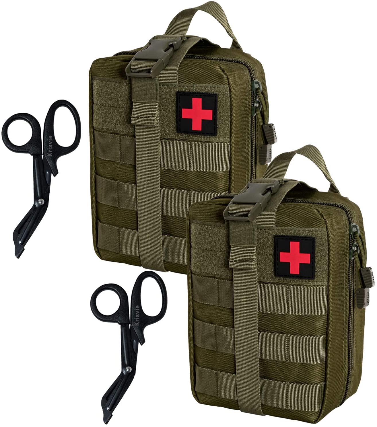 Krisvie 2Pack Rip-Away EMT Pouch Pouch Molle Pouch First Aid Kit Utility Pouch 1000D Nylon