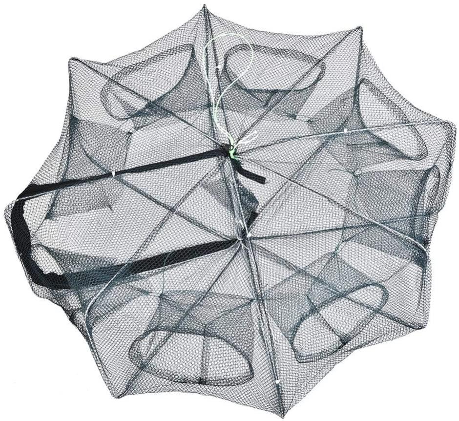 Vikye Foldable Fishing Net, 8 Holes Green Portable Crab Shrimp Fishes Crawfish Net Trap Cast Dip Cage for Fishing, Fishing Gear