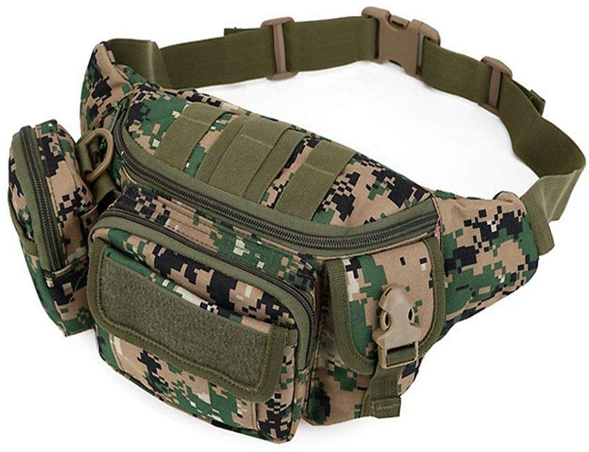 OSdream Medium-sized Daily Life Cycling Camping Hiking Hunting Fishing Tactical Waist Pack Portable Fanny Pack Outdoor Hiking Travel Army Waist Bag Military Waist Pack (Camouflage B)