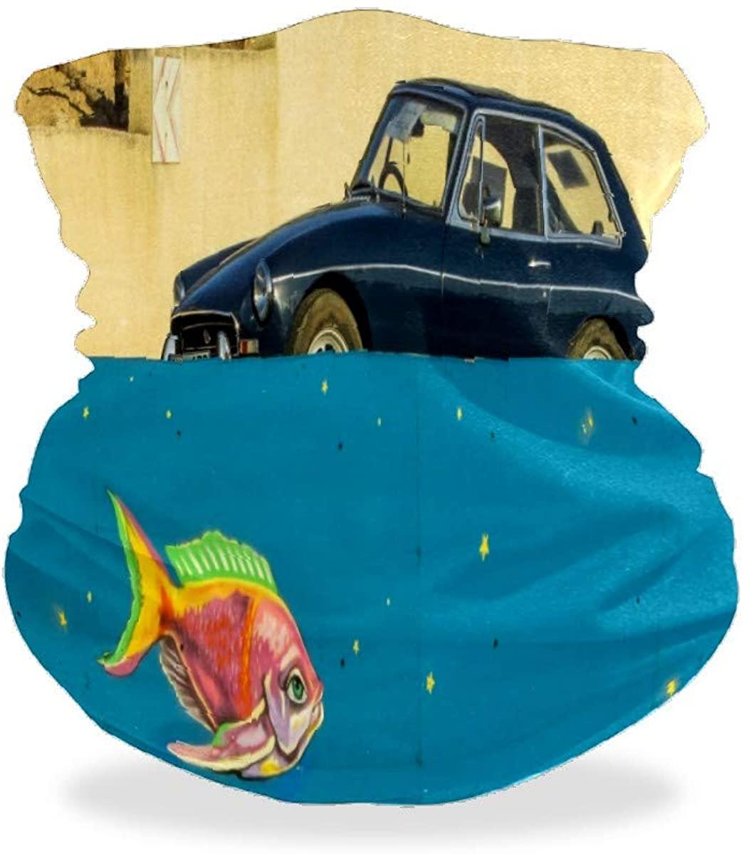 Old Car Fish Fantasy Graffiti Unisex Mouth Mask Bandanas Face Fover Nose Scarf Mask Balaclavas Headbands Hairband Neck Gaiter for Running Shopping Walking Motorcycling Sports Against UV Light Mask
